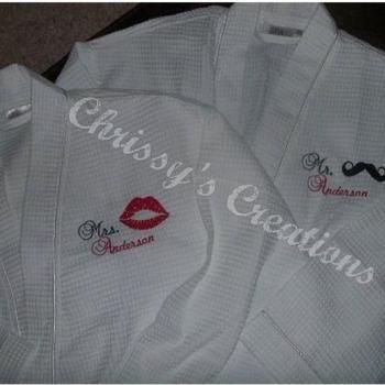 His and Her Robe set. Personalized how you like.