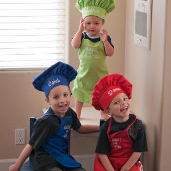 Childs Personalized Chef Apron and Chef Hat.